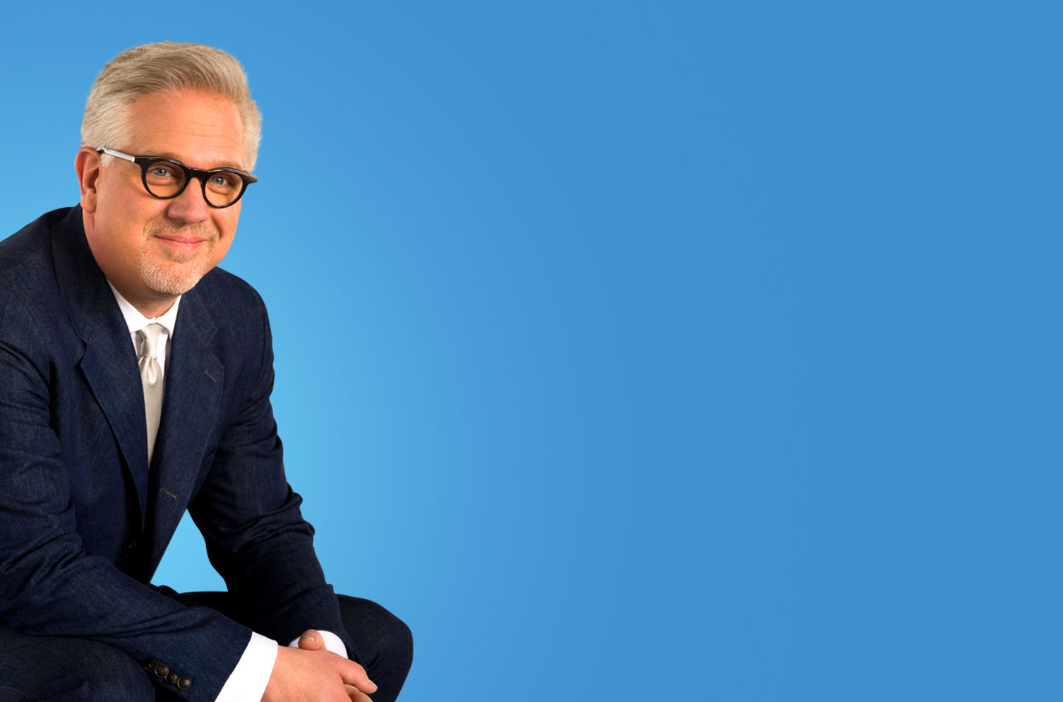 Image of Glen Beck with blue background behind him