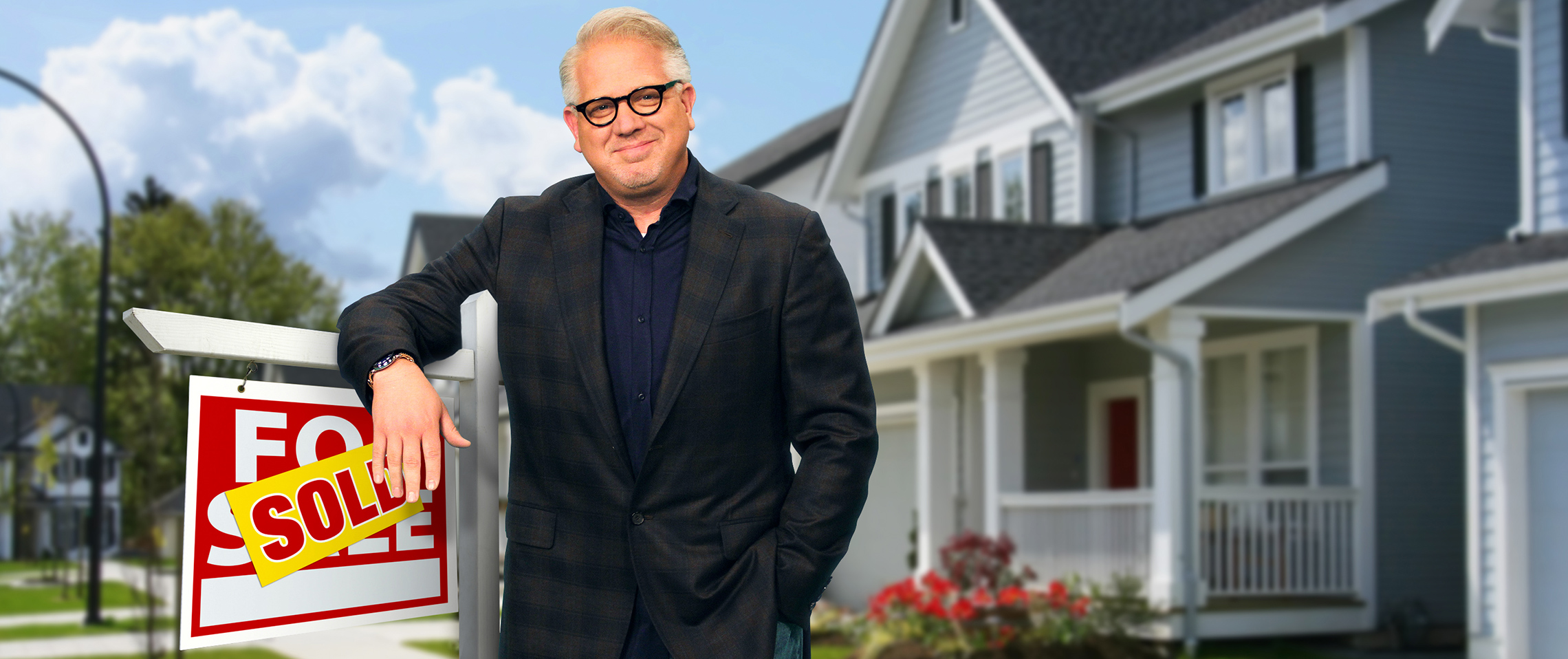 Glenn Beck leaning on a Sold sign